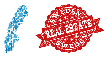Real Estate composition of blue mosaic map of Sweden and rubber stamp. Vector red imprint with corroded rubber texture. Mosaic map of Sweden designed with homes and population.