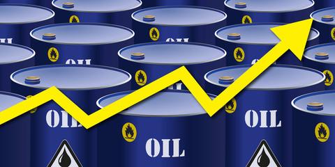 alignement de barils de pétrole avec une flèche symbolisant la hausse du cours du carburant