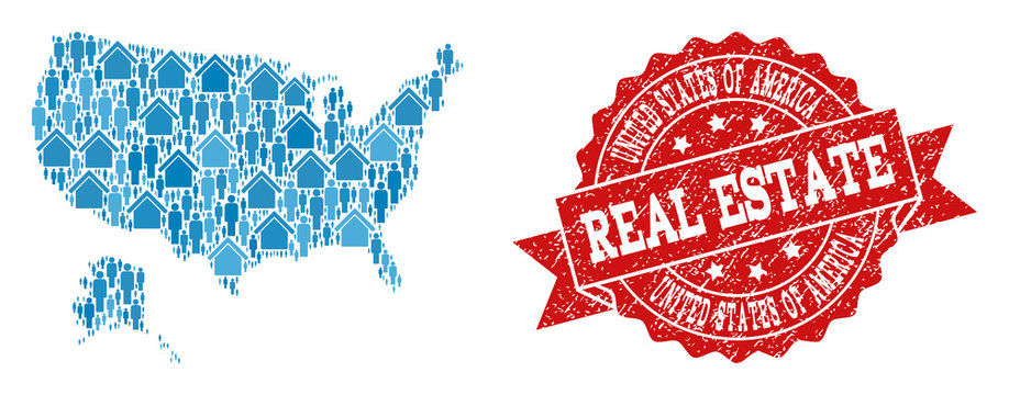 Real Estate combination of blue mosaic map of USA and Alaska and rubber seal. Vector red imprint with corroded rubber texture. Mosaic map of USA and Alaska constructed with realty and population.