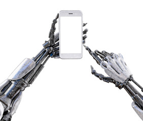 Robot hand holding  smartphone with blank screen mock up, touching screen, isolated on white background. Robot artificial intelligence technology concept.  3D illustration