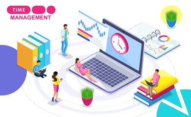 Isometric Concept of time management. Isometric people in motion, drawing up a work plan, hours. Concepts for web banners and printed materials