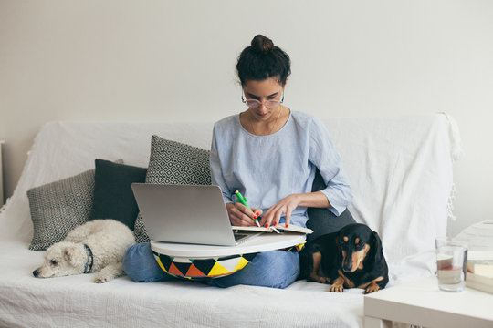 Woman using laptop indoor