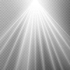 Abstract white laser beam. Transparent isolated on black background. Vector illustration.the lighting effect.floodlight directional