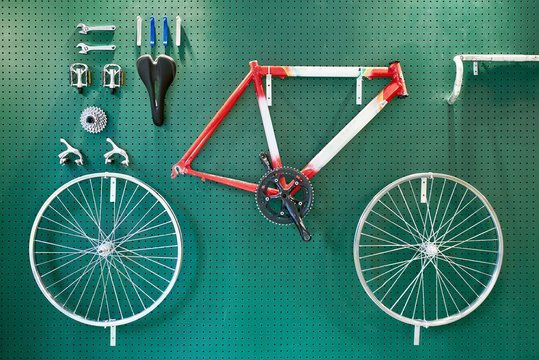 Racing bicycle on a wall