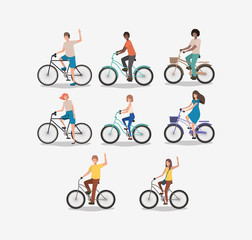 group of people on bicycle