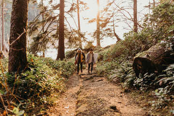 Couple hiking on a forest trail with surfboards
