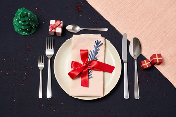 Happy christmas table with napkin