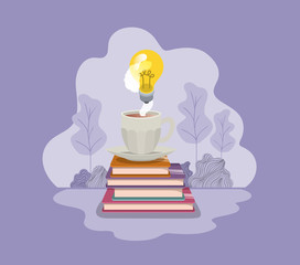 cup of coffee with books and light bulb isolated icon