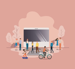 group of people with computer desktop avatar character