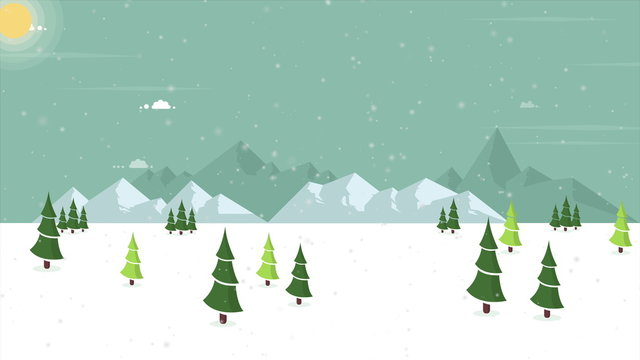 Animation of secenery snow on the hill