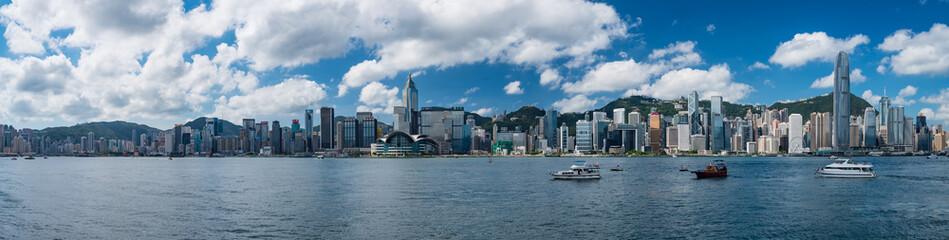 Super Wide Panorama of Hong Kong skyline at daytime Fotomurales