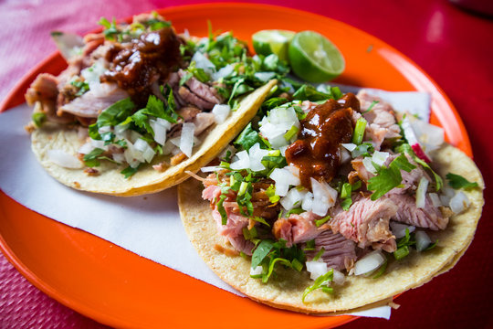 Carnitas Tacos with Salsa at Food Truck in Mexico City