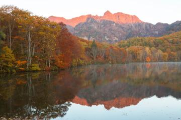 Fotobehang Alpen 長野県 鏡池に映る紅葉