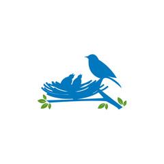 birds family in love logo design