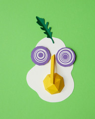 egg, onion and herbs made a paper craft
