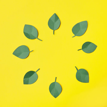 Circle of green leaves from paper