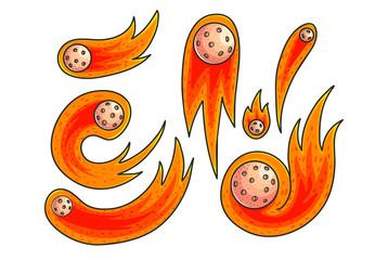 Comets hand drawn color illustrations set
