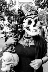 Frida Skull with Chihuahua for Day of the Dead Parade in Mexico City