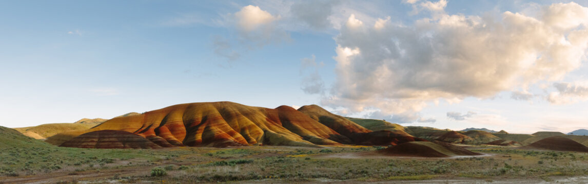 Panorama of Painted Hills in Oregon