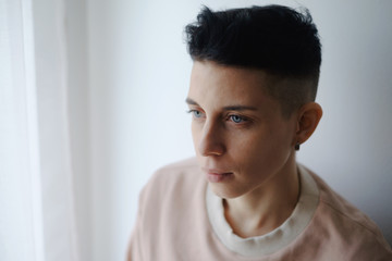 Portrait of pretty androgynous woman