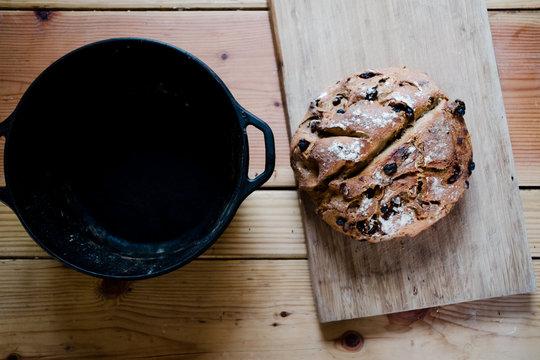 homemade walnut and raisin bread