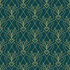 art deco geometric seamless pattern 1 golden line geometric illustration wallpaper graphic design vector