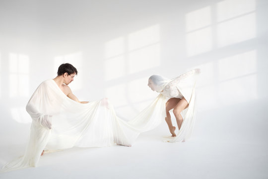 Emotional dance in white colors