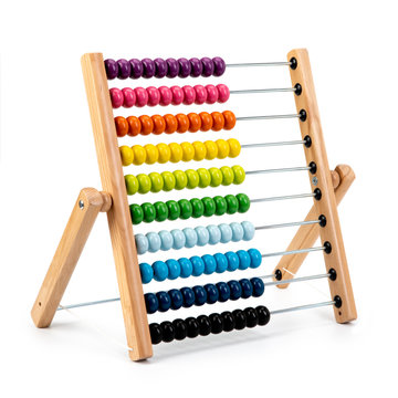 Wooden child toy abacus isolated on white background