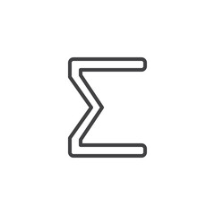 Sigma letter outline icon. linear style sign for mobile concept and web design. Greek alphabet symbol simple line vector icon. Symbol, logo illustration. Pixel perfect vector graphics