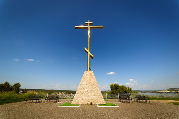 Spoed Foto op Canvas Monument Poklonnaya cross standing on Tsaryov Kurgan, Russia.
