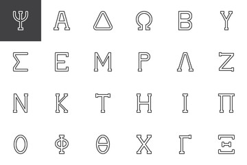 Greek alphabet symbols outline icons set. linear style symbols collection, line signs pack. vector graphics. Set includes icons as Psi letter, Alpha, Delta, Omega, Beta, Sigma, Epsilon, Mu, Lambda Nu