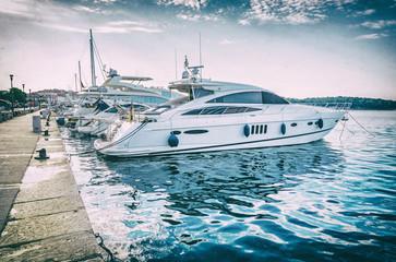 Yachts in port, Porec, Croatia, analog filter