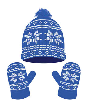 Blue knitted winter hat and gloves