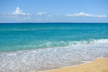 Big breaking wave on a sandy beach. Beautiful sandy beach with big sea waves on sunny summer day