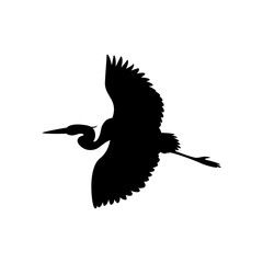 the heron is flying vector illustration  black silhouette
