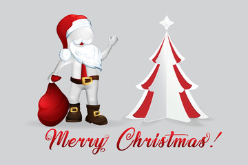 Christmas Tree Santa Claus -3D small people
