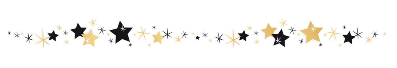 Frise étoiles noires et or