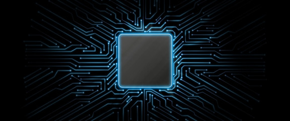 Abstract blue glowing circuit board background with copy space at center for your text, logo or products. Perfect for Artificial Intelligence, Technology, Crypto Currency concept.