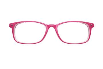 Pink glasses on white background. fashion.  miscellaneous. photo