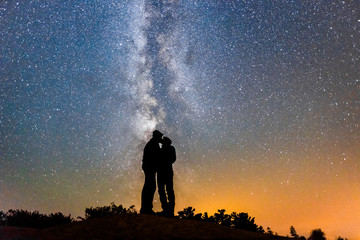 Silhouette of Couple Kissing Under Milky Way Galaxy Night Sky