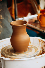 Pottery Craft Wheel And Ceramic Clay Pot. Traditional New Handma