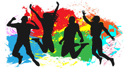 Youth in a jump colored. Cheerful man and woman isolated. Jumping friends colorful background. Vector silhouette