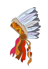 vector illustration of hat with feathers of indian, drawing color, vector