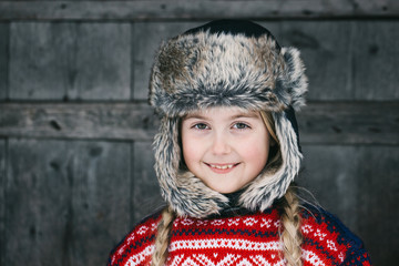 Winter Headshot of Beautiful Smiling Norwegian Girl in Tradition