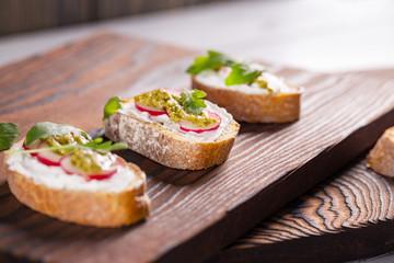 Fresh and crispy Italian snack like bruschetta or crostini.