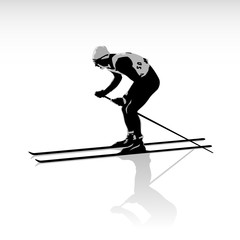 Silhouette of a skier isolated.