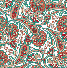 traditional Indian paisley pattern on white background