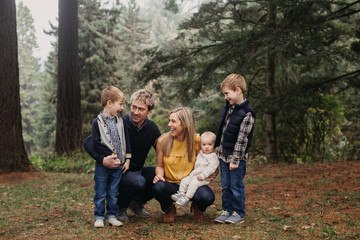 Portrait of Cute Family with Three Boys