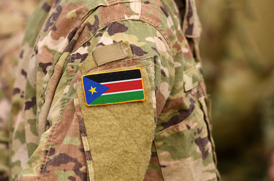 South Sudan flag on soldiers arm. Republic of South Sudan troops (collage)