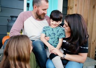 Family portrait on porch